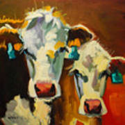 Sibling Cows Art Print