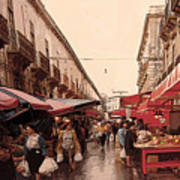 Sicilian Market After The Rain Art Print