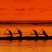 Side View Of Paddlers Art Print by Joe Carini - Printscapes