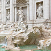 Side View Of The Trevi Fountain In Rome Art Print
