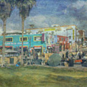Sidewalk Cafe Venice Ca Panorama  Art Print