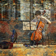 Sidewalk Cellist Art Print