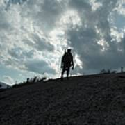 Silhouette Of A Hiker On Middle Sugarloaf Mountain - White Mountains New Hampshire Usa Art Print