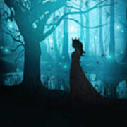 Silhouette Of A Womanin In A Forest At Twilight Art Print