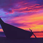 Silhouette Of A Wooden Thai Boat  On The Beach During Beautiful And Dramatic Sunset Art Print