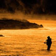 Silhouette Of Man Flyfishing Fishing In River Golden Sunlight Art Print