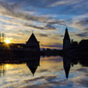 Silhouette Of Stronghold And Sunset. Pskov Kremlin. Russia Art Print