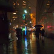 Silhouettes In The Rain - Umbrellas On 42nd Art Print