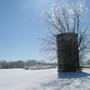 Silo In The Snow Art Print