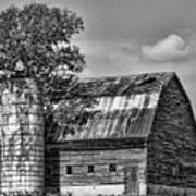 Silo Tree Black And White Art Print