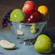 Silver Bowl Of Fruit Art Print