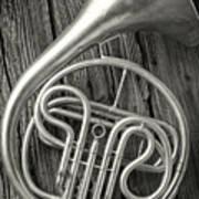 Silver French Horn Art Print