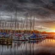 Silver Harbor Skies Art Print