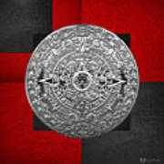 Silver Mayan-aztec Calendar On Black And Red Leather Art Print