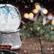 Silver Snow Globe With White Christmas Trees Art Print