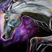 Silver Steed Night Dance Painting By Laurie Pace