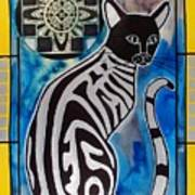 Silver Tabby With Mandala - Cat Art By Dora Hathazi Mendes Art Print