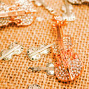 Silver Violin Pendant With Diamonds Art Print