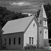 Simple Country Church - Bw Art Print