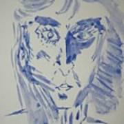 Simple Portrait In Blue.water Color 1999 Art Print
