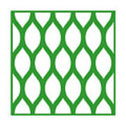 Simplified Latticework With Border In Dublin Green Art Print