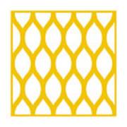 Simplified Latticework With Border In Mustard Art Print