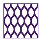 Simplified Latticework With Border In Purple Art Print