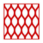Simplified Latticework With Border In Red Art Print