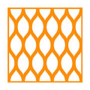 Simplified Latticework With Border In Tangerine Art Print