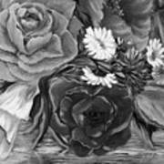 Simply Flowers 1 Black And White Art Print