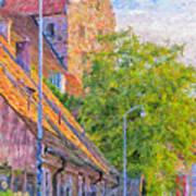 Simrishamn Street Scene Digital Painting Art Print