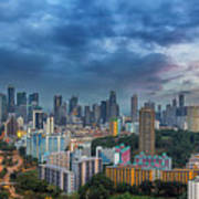 Singapore Cityscape At Sunset Art Print