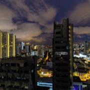 Singapore Cityscape On A Cloudy Night Art Print
