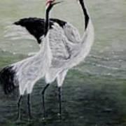 Singing Cranes Art Print