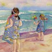 Sisters By The Sea Art Print