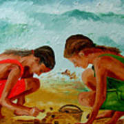 Sisters On The Beach Art Print