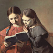 Sisters Reading A Book Art Print by Carl Hansen