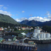 Sitka From The Waterfront Showing The Three Sisters In The Back 2015 Art Print