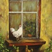 Sittin Chickens Art Print