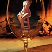 Sitting Nude In Glass Art Print