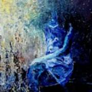 Sitting Young Girl Print by Pol Ledent