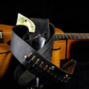 Six Gun And Guitar On Black Print by M K  Miller