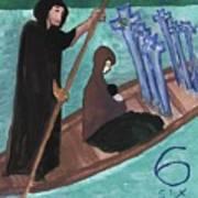 Six Of Swords Illustrated Art Print