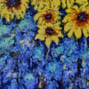 Six Sunflowers On Blue Art Print