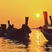 Six Thai Wooden Boats Floating And Glittering In The Lagoon During Golden Sunset Koh  Art Print
