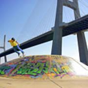 Skate Under Bridge Print by Carlos Caetano