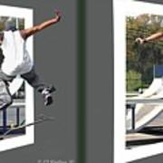 Skateboarder - Gently Cross Your Eyes And Focus On The Middle Image Art Print