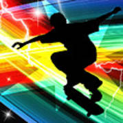 Skateboarder In Criss Cross Lightning Art Print by Elaine Plesser