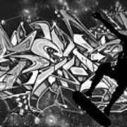 Skateboarder On Graffitti Art Print