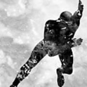 Skating Man-black Art Print